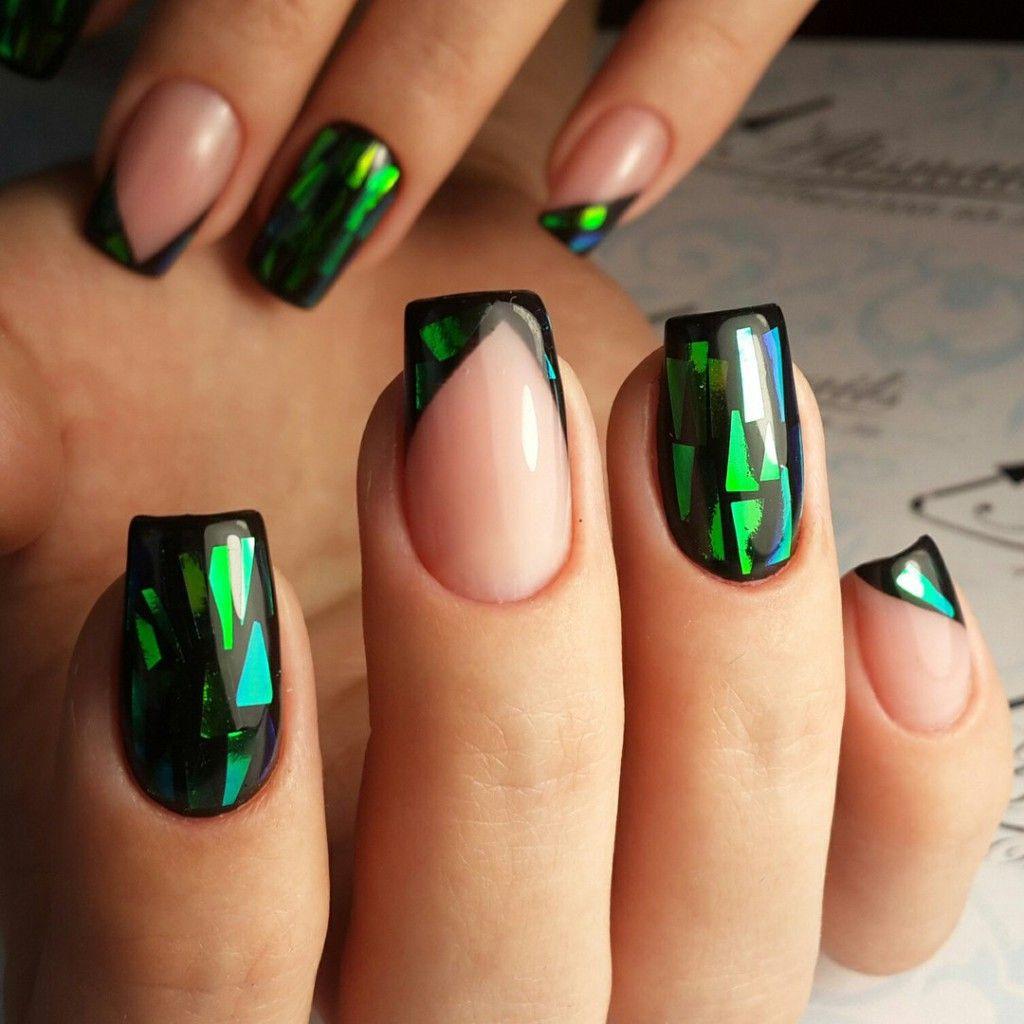 Дизайн ногтей битое стекло на ногтях